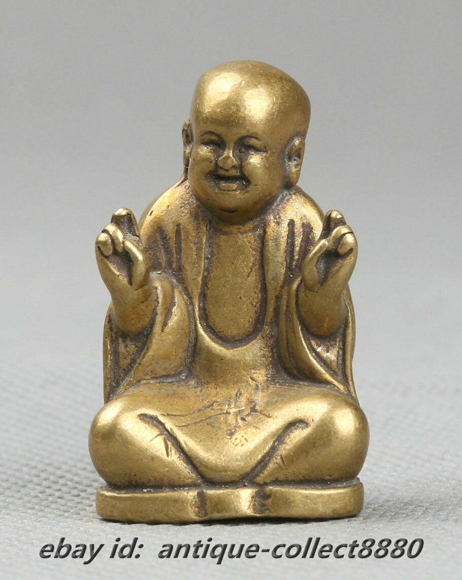 39MM Small Curio Chinese Bronze Exquisite Buddhism Happy Maitreya Buddha Statue