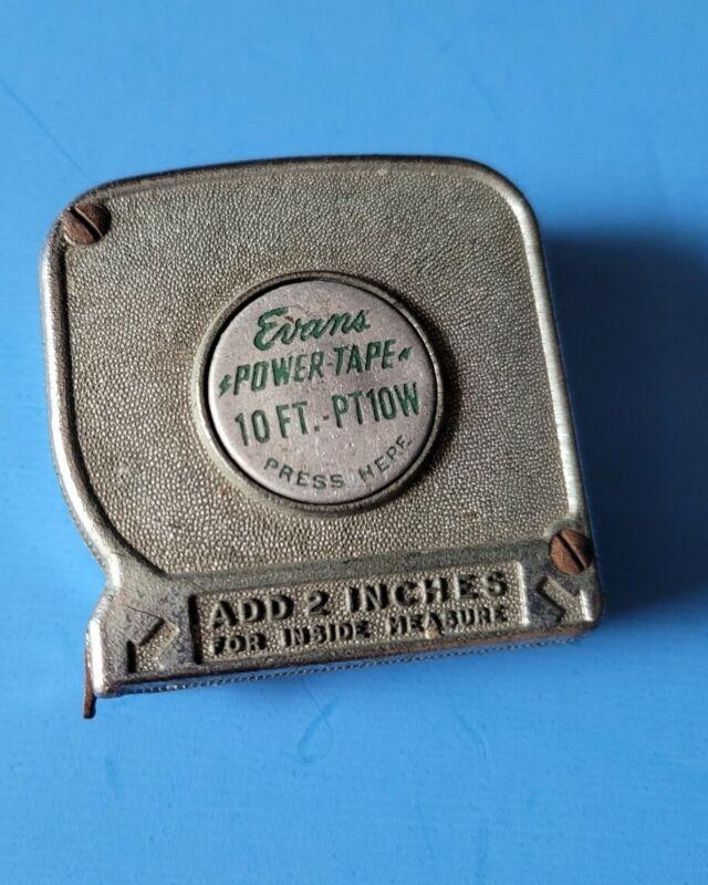 Vintage EVANS 10 ft. Push pull Tape Measure Powertape