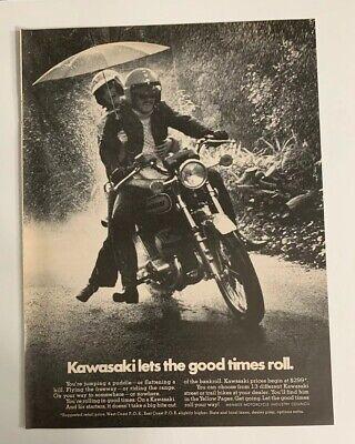 1973 Kawasaki Motorcycle Let The Good Times Roll Print Ad Advertising Vintage