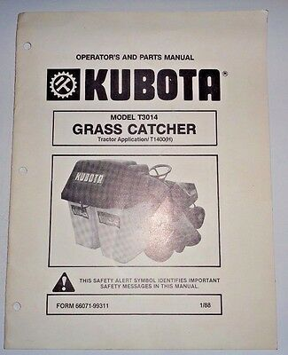 Kubota T3014 Grass Catcher Operators Parts Manual Used On T1400 Tractor Original