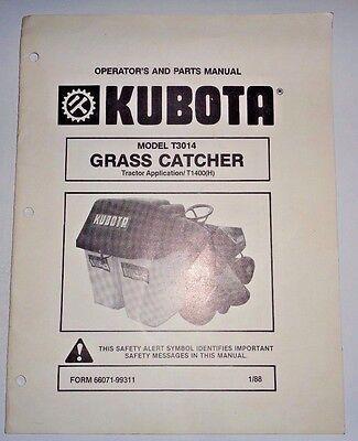 Kubota T3014 Grass Catcher Operators Parts Manual Used On T1400 Tractor Original