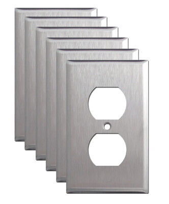 6 Pack Single Duplex Outlet Stainless Steel Wall Cover Switch Plate Decorative