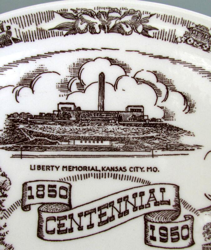 KANSAS CITY 1850-1950 (Artist: Sederling) Sepia Brown Vernon Kilns Vintage Plate