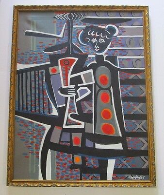 Large 1960S Abstract Painting Picasso Style Modernism Cubism Cubist Vintage