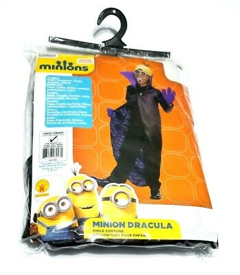 NWT Large 12-14 Boys Child Minion Dracula Halloween Costume Black Purple Yellow](Purple Minion Halloween Costume Baby)