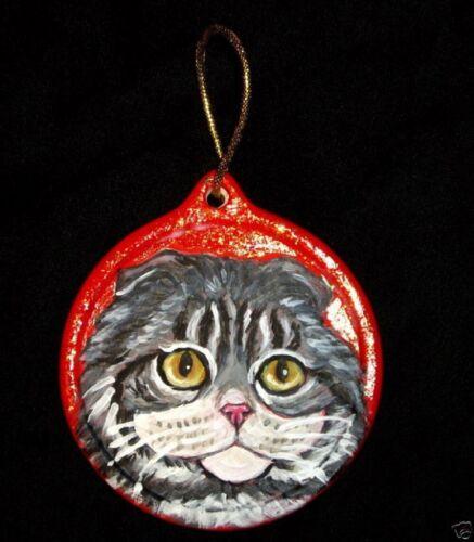 Scottish Fold Gray Tabby Cat Christmas Ornament Decoration Hand Painted Ceramic