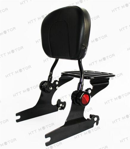 Adjustable Backrest Sissy Bar Luggage Rack for HD Softail 00-06 Black