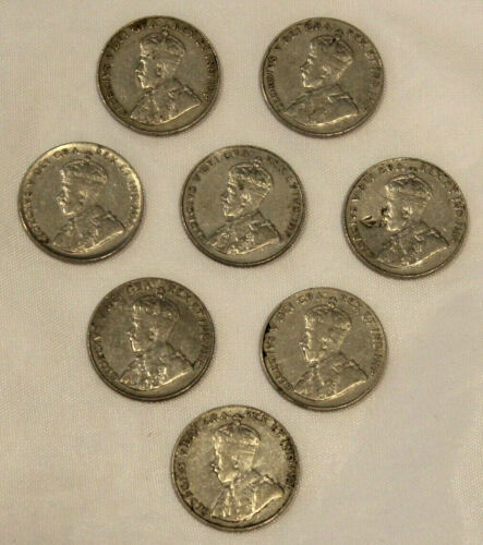 LOT OF 8 FOREIGN COINS ~ FIVE CENT CANADIAN COINS ~ 1927-1936 ~ GEORGE V