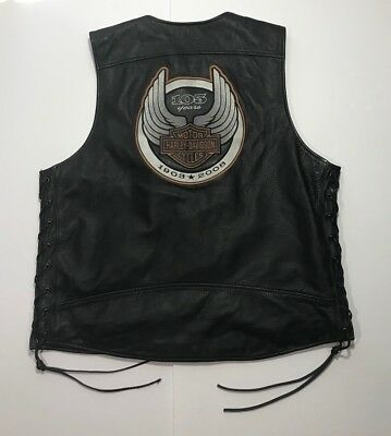 Harley Davidson 105th Anniversary Leather Vest Sz XL *HUGE PATCH*