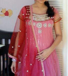 Indian anarkali-Party wear pink and red suit- likely new