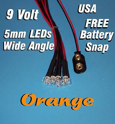 10 X Led - 5mm Pre Wired Leds Wide 9 Volt Orange 9v