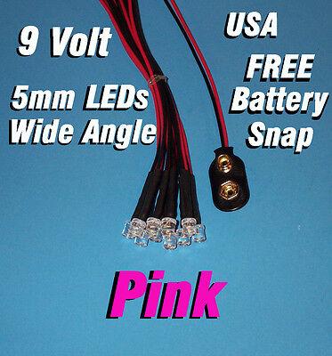 10 Pcs Led 5mm Pre Wired Leds 9 Volt Wide Pink Prewired 9v