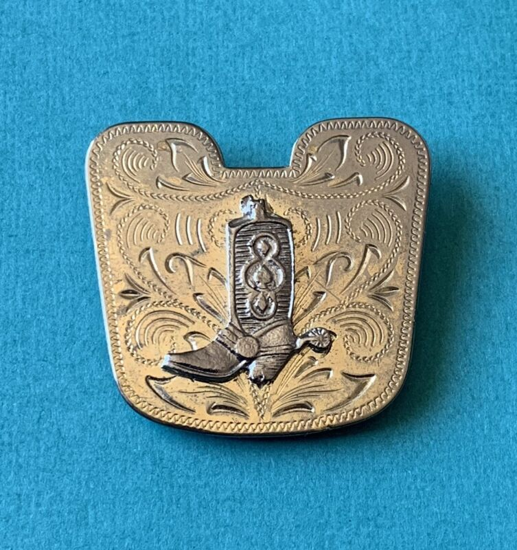 Vintage SOUTHWESTERN COWBOY BOOT BOLO OR SCARF CLIP Etched Solver Gold Tone Spur