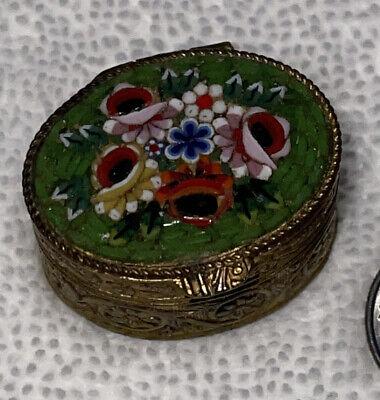 vintage mosaic top pill box floral tesserae flowers. micro mini small