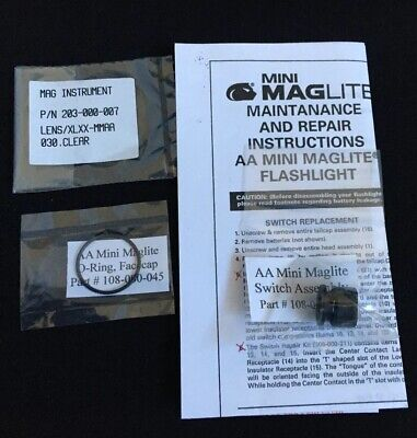 "Authentic ""AA"" Mini Maglite  Repair Switch Assembly 108-000-211  And Lens Combo"