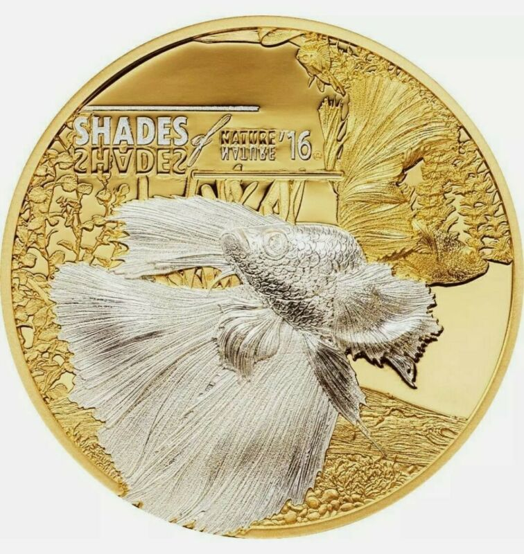 2016 25 Grams Silver $5 Cook Island FIGHTING FISH Shades of Nature Coin.
