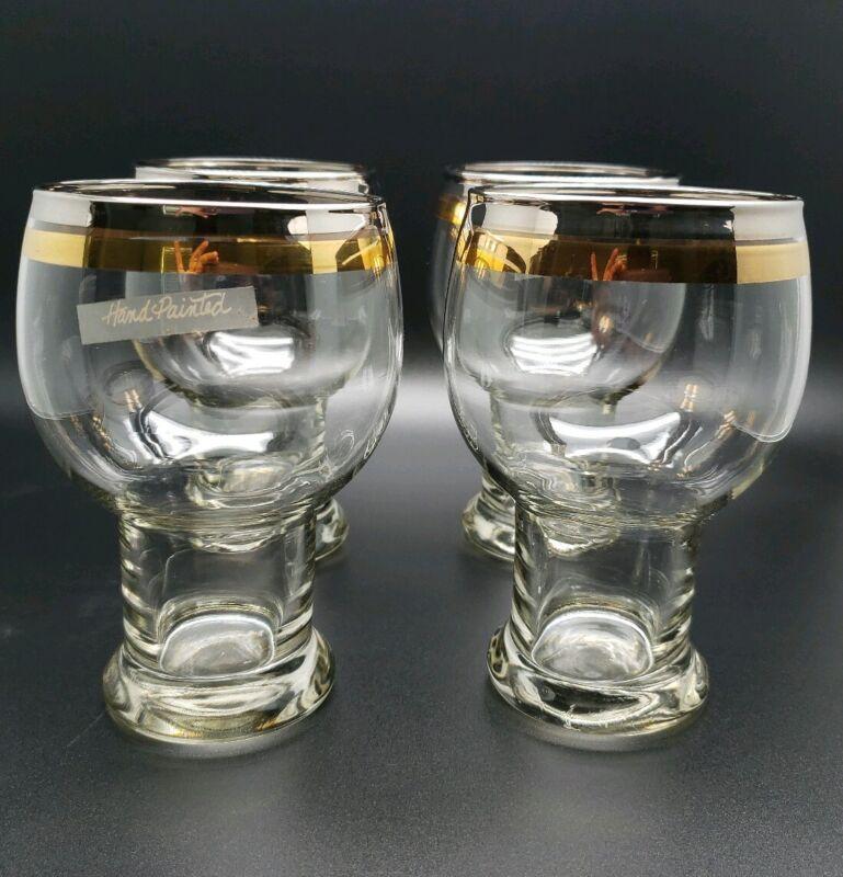 4  Vtg   Beer Goblets Banquet Brew Drinking Bareware Glass Silver and Gold Rim