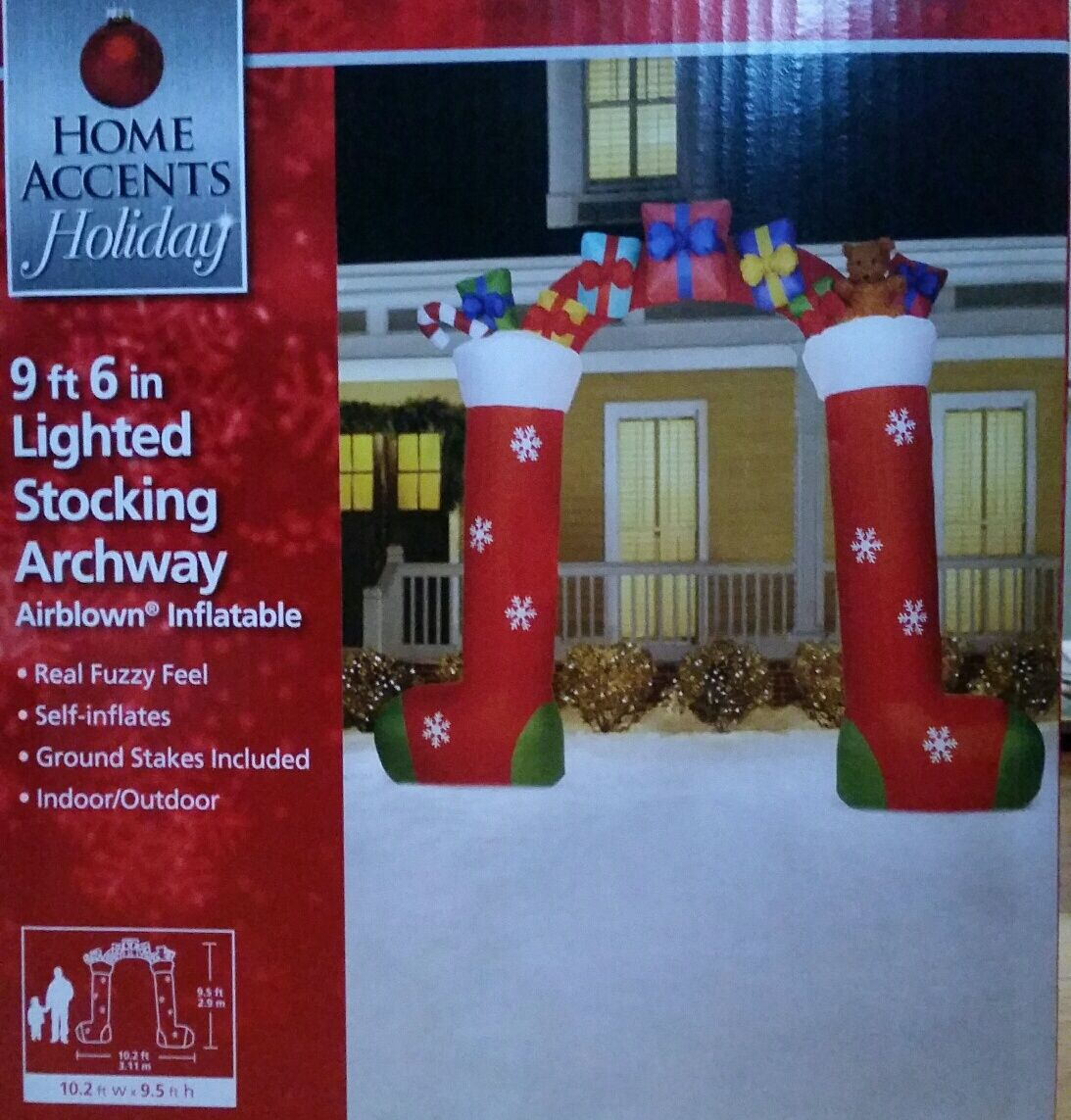 """9 Foot Christmas Stockings Archway Gifts Presents Inflatable Airblown 9' 6"""""""