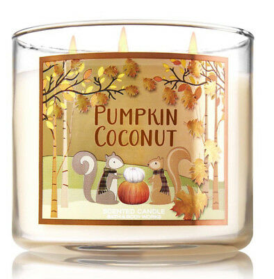 ( Bath Body Works PUMPKIN COCONUT 3 wick 14.5oz Jar Candle Very Strong Throw 2016)