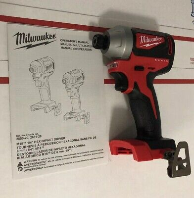New Milwaukee M18 Cordless Brushless 18V Li-Ion ¼ in. Hex Impact Driver 2850-20