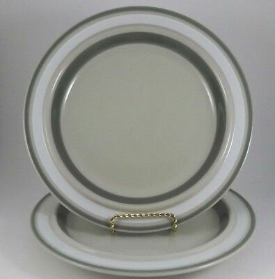Lot of 2 Arabia Finland Salla Dinner Plate Gray Tan White Band Hand Painted