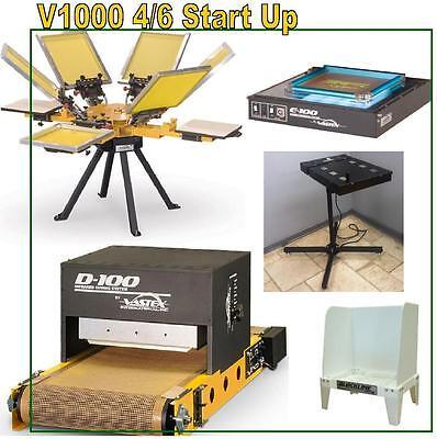Vastex V-1000 Screen Printing Press 4 Station 6 Color Start Up Shop Supplies