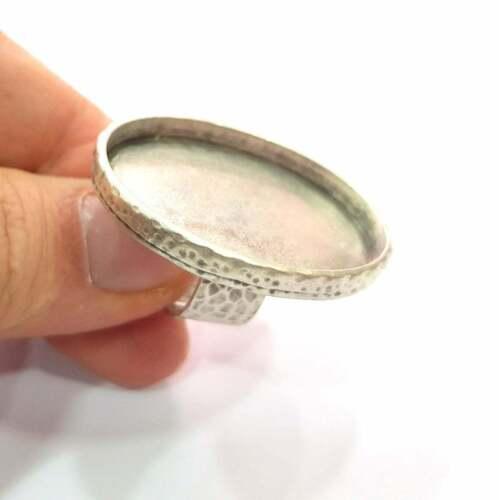 Ring Blank Base Bezel Setting Antique Silver Adjustable 40x30 mm blank G16061