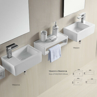 eckig klein Gäste WC Waschbecken Waschtisch Aufsatzbecken Wandmontage 37 x 24 cm