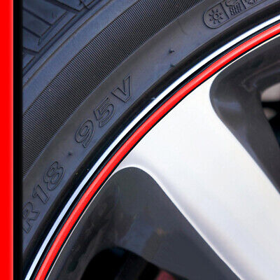 Wheel Bands Red in Black Rim Edge Protector 13-22' Rims for BMW X1