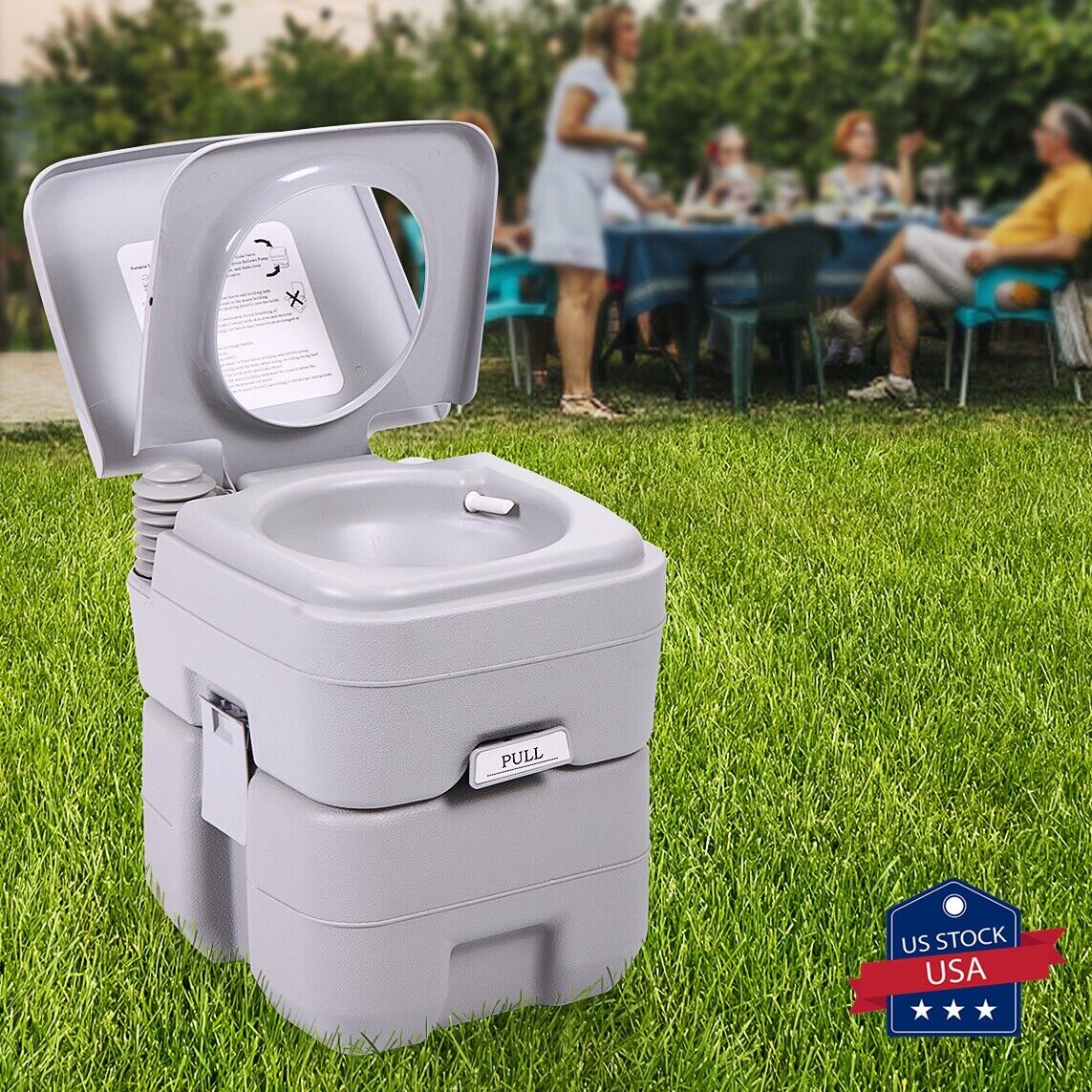 Portable Toilet 5 Gallon 20L Flush porta-potty Outdoor Indoo