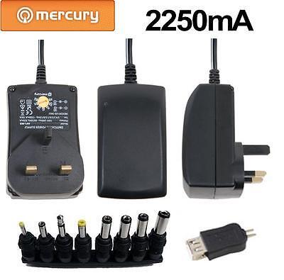 Mercury 2250mA 7 Way Voltage Selector UK Universal Power Supply - 8 Tips + USB