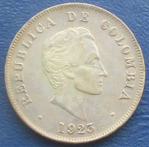 .900 Silver 1923 Colombia 50 Centavos KM# 193.1 Simon Bolivar Nice Grade # FR 31
