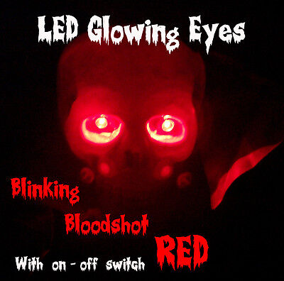 LED GLOWING EYES HALLOWEEN BLINKING RED 5MM 9V ON/OFF SWITCH  - Red Eyes Halloween