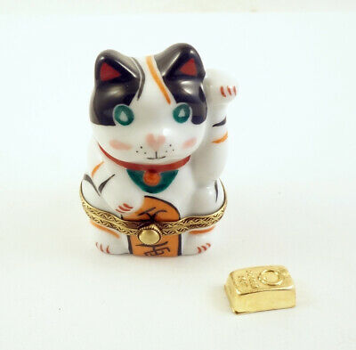New French Limoges Trinket Box Japanese Lucky Happy Cat Maneki-Neko w Gold Bar