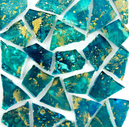 100 pieces TEAL with METALLIC GOLD Colored glass pieces by Makena Tile
