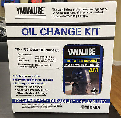 YAMAHA OEM F30-70 Outboard Oil Change Kit 3 Qt 10W30 4M Filter LUB-MRNSM-KT-10