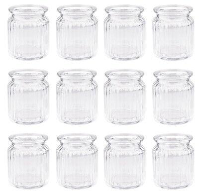- Vasen (12 Stück kleine Glasvasen ELLIE mini Vasen H 9 Ø 7,5 cm geriffelt Teelichthalter)