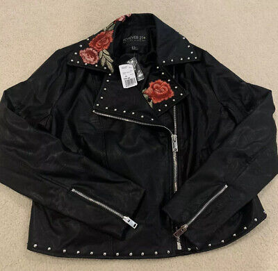 Forever 21 Plus Embroidered Faux Leather Jacket Size 0x