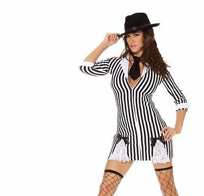 Gangster Girl Costume (Gangster Girl Adult Costume Dress Mafia Mobster Striped Black White 20's)