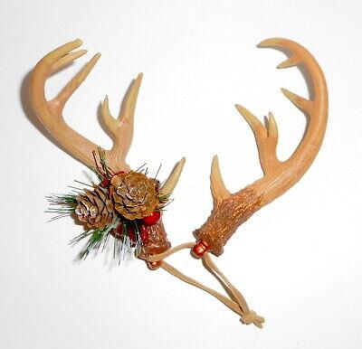 Christmas Tree Ornament DEER ANTLERS RACK Large Real Bone Look Rustic Horns