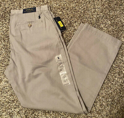 NEW Polo Ralph Lauren Classic Fit Men's Flat Front Chino Pants Gray Size 32x30