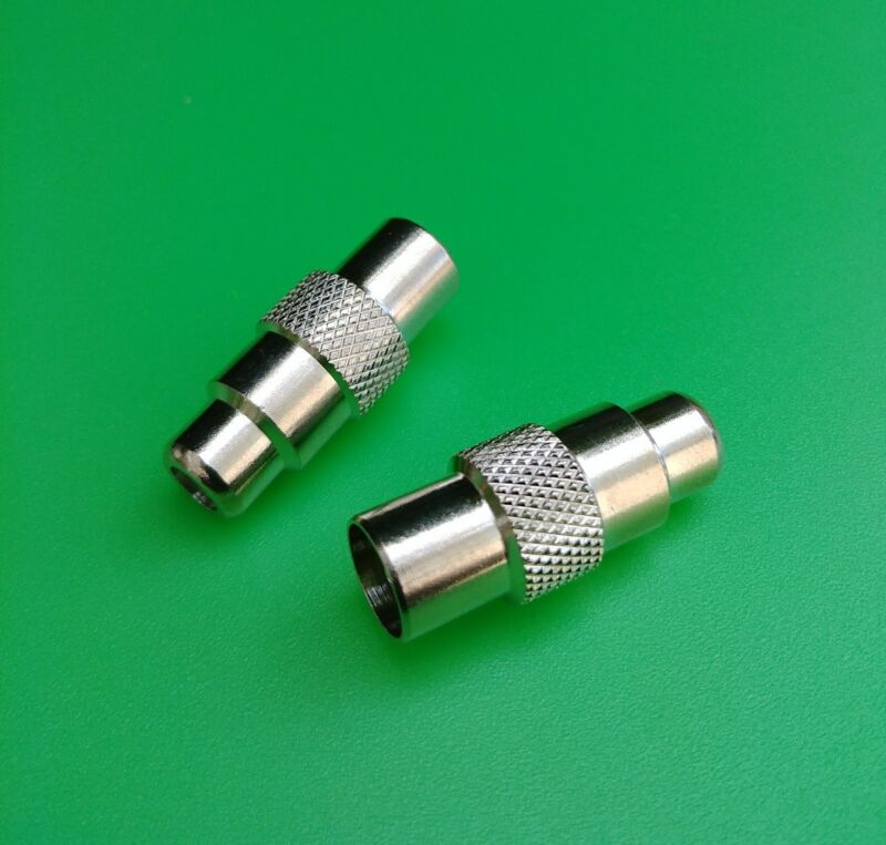 (2 PCS) PAL/IEC Male to RCA Female Connector - USA Seller