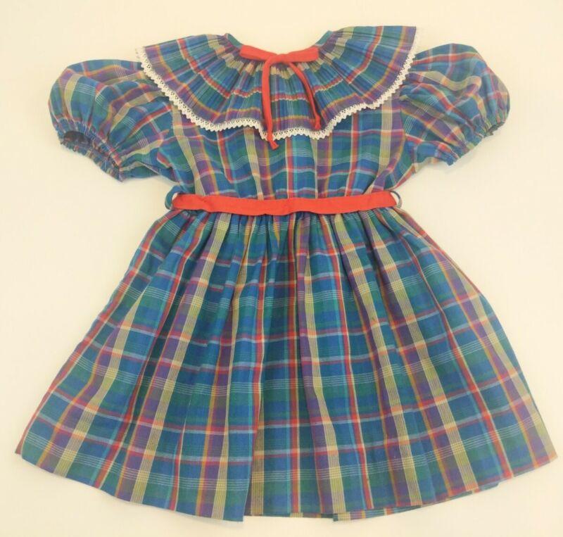 Vintage 70s Girls 4 Party Dress Multicolor Plaid Ruffle Pleated Collar Sash USA