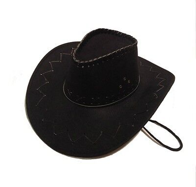 Adult Size Black Cowboy Hat Western Costume Suede Feel Stitched Womens Mens NEW