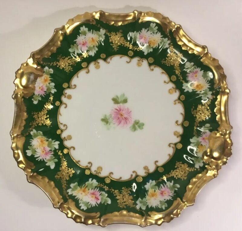Antique French Limoges Elaborate Goldtrim Platter by Blankman & Henderson c.1890
