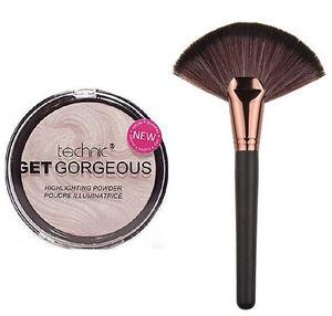 Technic Get Gorgeous Highlighting Powder 12g + Large Rose-Gold Fan Makeup Brush