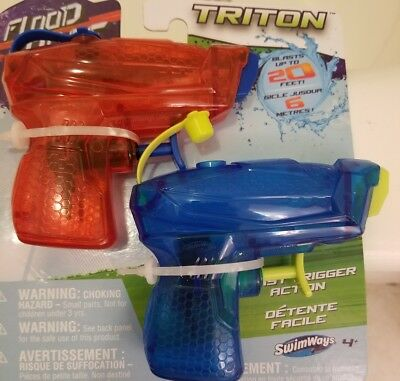 Swimways Flood Force Triton Water Squirt Gun Pair Set - Blue and Red pistols NEW (Water Squirt Guns)