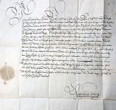 HANDSCHRIFT DEUTSCH SACHSEN LEIPZIG SCHÖFFENGERICHT ERBSCHAFT GOTHA SIEGEL 1569