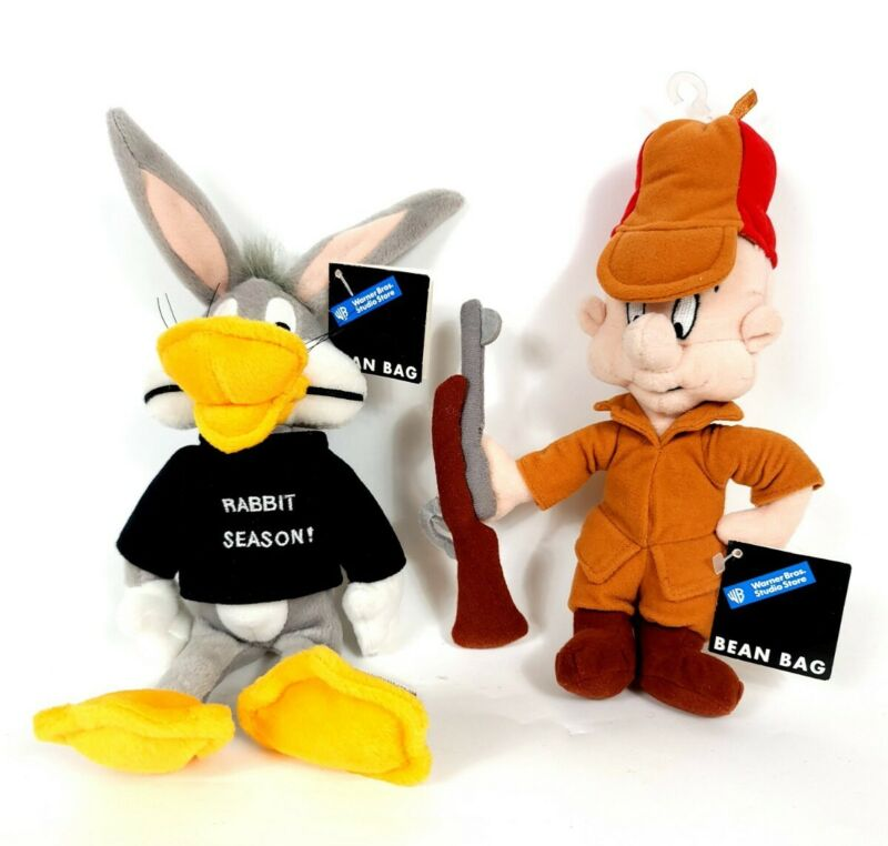 Lot Vtg 1998 WB Warner Bros Store Looney Tunes Bugs Bunny & Elmer Beanbag Plush