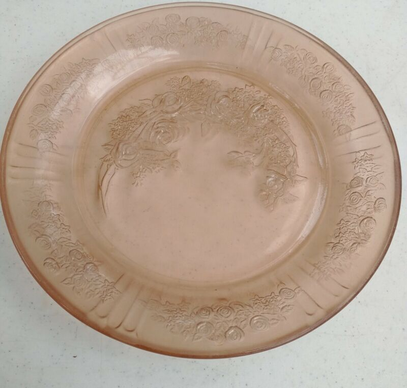 2 Vintage Federal Glass Sharon Cabbage Rose Pink Depression Glass round Plate